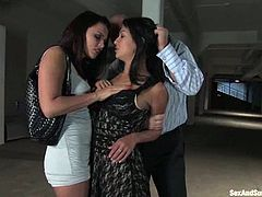 One of them is a gorgeous brunette Eva Angelina and the other one is a petite Asian sex slave. Both of them belong to Mark Davis today!