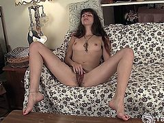 Slim amateur honey with tattooed leg Willow fingering and toying her hairy snatch