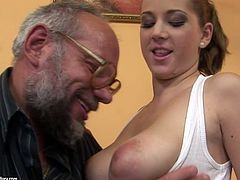 Fat black man in glasses takes a chance to enjoy a solid blowjob tonight. Spoiled booty and busty pale brunette lures black gaffer and sucks his still strong BBC for gooey cum in steamy 21 Sextury interracial sex clip.
