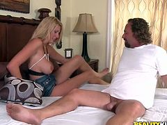 Sizzling blonde milf Tara is having a good time with some horny man in the bedroom. She sucks and rides his dick ardently and then allows the guy to poke his dick deep into her mouth.