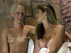 Short-haired blonde Dylan Ryan is playing dirty games with cute brown-haired chick Felony in some foul room. Felony tortures and beats Dylan and then bangs her vag with a dildo.