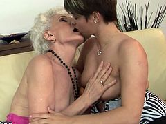 Curvy brunette prostitute gets her shaved vagina tongue fucked by kinky granny