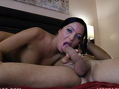 Adorable chick gives a blowjob and then lies down on a bed. She gets her tight pussy fucked nice and deep by some brutal dude.