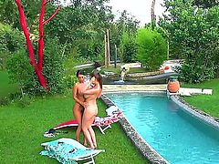 Hot and horny flick with plenty of girl on girl action.. Staring LaTaya Roxx and Sheila Grant. These glamorous European babes are enough to get you good and hard as they rub each others big bouncy titties all over. Great outdoor fun.