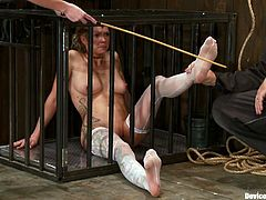 Amber Rayne and Ariel X are playing dirty games in a basement. They get chained and enjoy beating and toying.