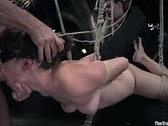 Hot Bobbi Starr gets suspended and blindfolded. After that she gets her tight ass and wet pussy stuffed with big dildos.