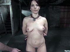 BDSM sex scene with a super naughty and passionate siren Dana Dearmond. She gets that huge cock deep in her throat, being chained.