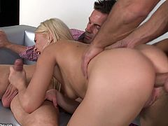 Lindsey Olsen goes crazy with two large tools drilling deep into her shaved holes