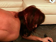 Sex hungry brunette mature stands in doggy pose while getting her oversized vagina pounded with a dildo machine what makes her cum in couple minutes.