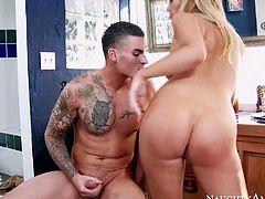 Feisty blonde hooker Tasha Reign gives a head before riding hard dick of Clover