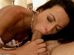 Gorgeous brunette babe spreads her sexy legs wide and enjoys steamy tongue job. She likes it hotter and start to suck his cock with only one desire to get cum load.