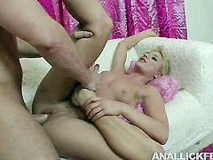 Torrid blonde whore is getting her pussy licked while the other girl is sucking dude's cock deepthroat. Then one of the girls gets on top of hard dong jumping intensively.