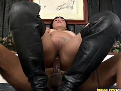 A dirty fucking brunette bitch sucks on hard dick and then gets her camel toe parted by dick in this hot-ass hardcore fuck scene!