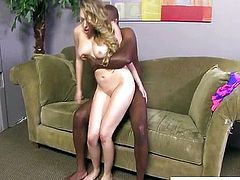 Huge black monster cock slams shaved cunt