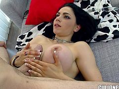 Stunning brunette chick with big fake tits poses for the camera and plays with her pussy. Later on she gets fucked between her boobs and in vagina.