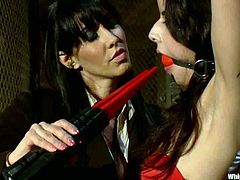 That is how a hardcore lesbian BDSM looks like. Sassy brunette gets blindfolded and ball gagged for a nice strapon penetration. She loves that kind of abuse!