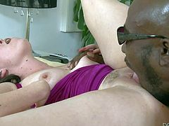 Sasha Knox loves Wesley Pipes big black dick so much. She strokes and sucks his fat chocolate dick. Then she takes off her panties and opens her legs. He eats her white pussy with appetite!