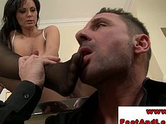 Sexy brunette giving hot footjob as this hard dick boss enjoys his horny and super sexy secretary that is enticing.