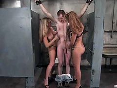 Two dominant blondes, Harmony and Isis Love, are going to spank, face sit, strapon fuck and ass toy this submissive guy in dirty restroom.