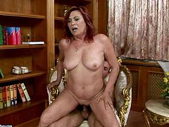 Immense red-haired mature BBW gets her nasty hairy vagina tongue fucked by sex greedy young wanker before she pleases him with a skillful blowjob and later rides reverse cowgirl style.