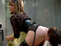 Tied up brunette with big boobs gets dominated and toyed