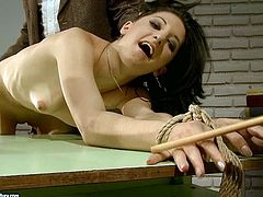 Dude, don't pass by this steamy 21 Sextury xxx clip. Kinky black haired chicks with rounded asses are tied up with ropes and fixed to the table. Spoiled dudes smack their asses tough till they get red.
