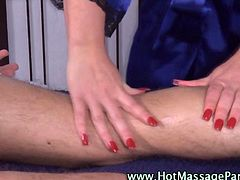 Sexy masseuse babe giving her client a sensual massage