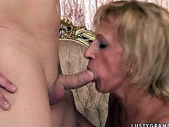 Filthy granny with saggy tits is jumping on solid rod like crazy. Then guy shuts her butt hole with finger while she rides. Then slutty granny is sucks meaty cock deepthroat.