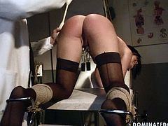 Wicked gynecologist tells her patient that her snatch looks very healthy after toying her twat. Then he grabs her by her silky jet black hair and pulls her towards his meaty cock so she can blow him. She sucks that juicy pecker greedily as if her life depends on it.