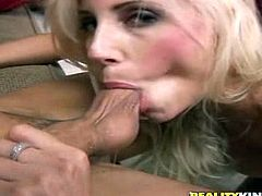 A couple of hot blonde babes suck dick and get nailed in this dirty-ass group sex scene right here, hit play and check it out.