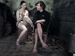 Claire Adams the hot mistress ties the guy up and pinches his balls. Later on she stuffs his ass with a strap-on.