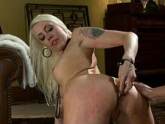 Slim blonde chick sucks a dick and gets her ass spanked. Later on she also gets her ass toyed. After that she gets fucked hard and facialed.