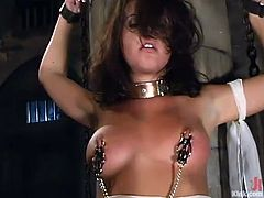 Penny Flame is the sexy chick is the one having rough hardcore sex in a bondage and domination session where her pussy is fucked hard.