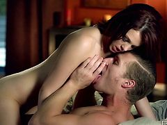 Beautiful brunette babe rides dick slowly. Sex partner fondles her juicy tits and kisses her passionately. Watch exciting Babes sex tube movie right now.