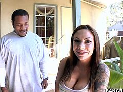 Press play on this interracial video and check out Mason Moore's great ass and her big tits before her wet pussy's nailed by a black monster cock.