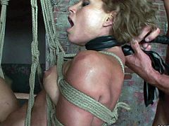 Ruined brunette hottie gets her pretty face smeared with make up while she gets bandaged and later forced to give a deepthroat blowjob to strain dick in steamy BDSM sex video by 21 Sextury.