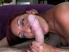 This red-haired harlot knows what she wants from her horny lover. She spreads her legs wide to let him get a taste of her delicious fanny and then she returns the favor with a blowjob.