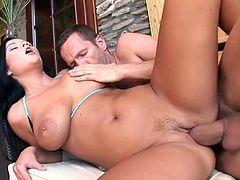 Busty brunette Christina Jolie furious fuck encounter. She enjoys that hardcore cock invasion in every position possible. She lets him ablaze her with his horny moves.