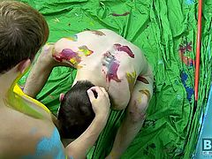 Jasper and Ryker are supposed to be decorating when things take a kinky turn and their playful paint fight becomes a cock-hungry makeout session with hot blowjobs and ass fucking sex.