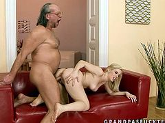 Kinky blonde babe with sexy body is fucking hard in dirty porn scene. She bends over the couch getting nailed hard doggy style. So if you are into old young fuck videos this one is gonna make your dick go hard as hammer. Check this out.