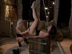The blonde Lorelei Lee will choose Roxanne Hall to play with from all her sex slaves and use all sort of BDSM devices and techniques to have fun.
