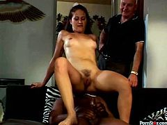 Wondrous booty and slim brunette is ready for steamy 3some. DP is what lewd nympho loves the most of all. Kinky chick with natural tits rides BBC and gets pounded by white dude then tough right on the floor.