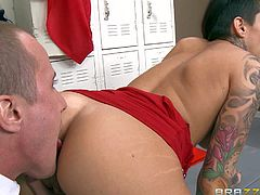 Sexy tattooed brunette Alby Rydes is going to have her first anal sex with her inexperienced BF Jessy Jones. Blonde MILF Alura Jenson, her teacher, gladly agrees to give them instructions. She shows how to lick and finger asshole right before butt fucking.