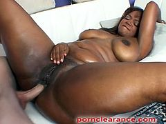 Beautiful ebony babe, Sinnamon Love gets her big ass spanked then she sucks a big white cock before taking it in her pussy and ass then gets a mouthful of jizz.
