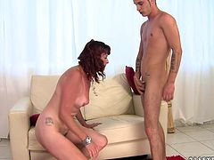 Fuckable brunette mom gets her anus rimed by young lover