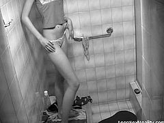 She has no idea that there was a hidden camera set up in her bathroom. It captures everything as she undresses and gets ready for her hot, steamy shower!