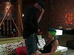 Punk whore Cassie is about to get stretched by a black guy. She kneels with pleasure and opens her mouth, to suck his hard penis. The white chick delights herself with that black piece of meat and then, he grabs and spreads her butt. Maybe, after he licks her pussy, he will rip it with his dong!