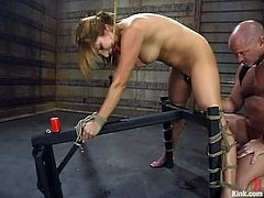 The experienced vixen Sativa Rose is going to get dominated in this bondage session packed with rough hardcore sex and throat fucking.