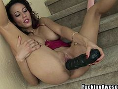 Look at this delicious milf inserting that big black dildo in her mouth. Her sensual lips are burning with sexual desire and she gags with the dildo, taking down all she can. Soon it's time to be put in another hole, her pussy. She stuffs her cunt as deeply as she can. Will she explode? Watch now!