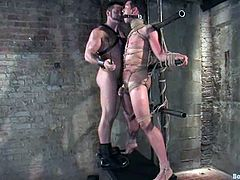 The skinnier of these gay guys is going to be spanked and fucked by the other one in this bondage and domination video.